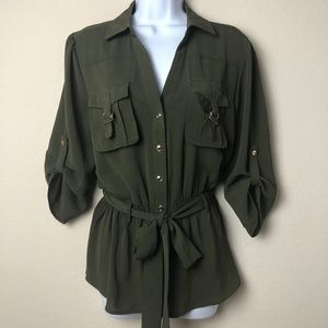 Kaii Top/Olive green & gold
